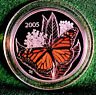 2005 CANADA 50 cent coloured Monarch Butterfly Sterling silver