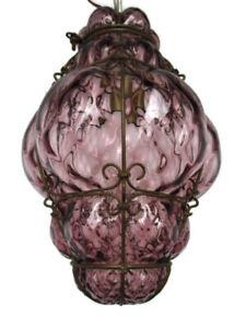 Purple Chandelier Murano Pendant Bubbled Glass Lamp Caged Art Glass Seguso Style
