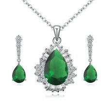 18K WHITE GOLD GP CZ & AUSTRIAN CRYSTAL EMERALD GREEN  NECKLACE & EARRING SET