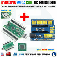 Nano V3.0 Compatible ATmega328P-MU for Arduino Micro USB Unsoldered  +UNO Shield