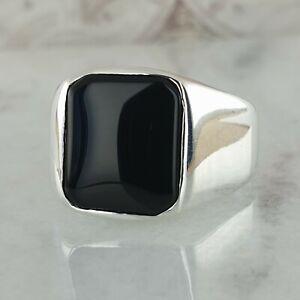 Solid 925 Sterling Silver Mens Ring Black Onyx Gemstone  Handmade Turkish Style