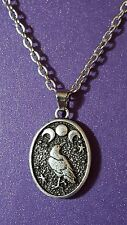 "Raven Triple Moon Pagan Wiccan Wise Witch, Oval Pendant Necklace 18"" Chain    a1"