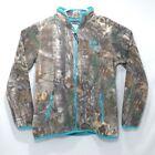 Realtree Women's Fleece Full Zip Forest Camo Teal Green Outdoors Pockets Size M