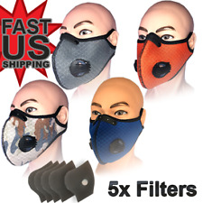 Face Mask 5 Extra Filters-Reusable Washable Nylon Mesh Air Ventilation Port