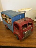 Vintage Triang 300 Series Large Metal Delievery Lorry with Steering Wheel - Ride