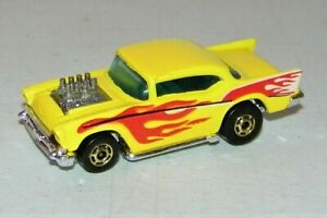 1976 Hot Wheels Yellow 57 Chevy Blackwall Gold Wheels Flame Tampos Malaysia NM