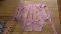 Vintage Half APRON Pink & White Gingham X-Stitch Embroidered, Heart Pocket