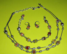 LOT~Brighton GLASS MOUNTAIN Set ~Necklace Bracelet Pink Drop Earrings ORIG OWNER