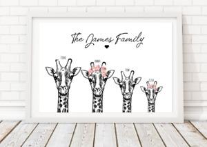 Personalised Family Prints Giraffe Print Gift personalised birthday christmas