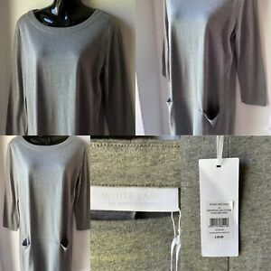 THE WHITE COMPANY WHITE LABEL GREY POCKET SHIFT DRESS SIZE 12 NEW TAGS £69