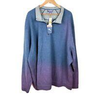 Tommy Bahama 1/4 Zip Reversible Blue Gray Sweater Men's Size 4XB NWT