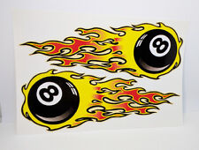 FLAMING EIGHT BALL (PAIR) Vintage Style DECAL / STICKER, rat rod, racing