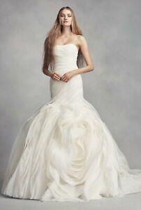 White by Vera Wang Bias-Tier Trumpet Wedding Dress - Size 10 - VW351395