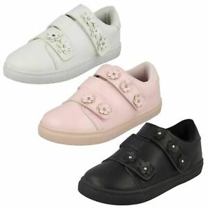H2R460 GIRLS SPOT ON HOOK AND LOOP STRAP PUMPS CASUAL EVERYDAY TRAINERS SHOES