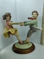 Capodimonte Bruno Merli Figurine Country Girl & Boy Italy 1987 9 inches Tall