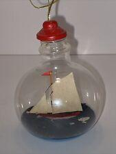 Pirate Ship Nautical Sailboat Vessel in Glass Bottle Jar Nautical Coastal Decor
