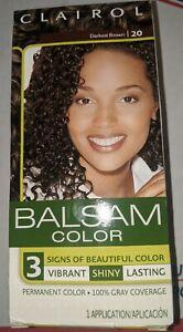 Clairol Balsam 20 Darkest Brown Hair Color Vibrant Shiny Lasting 100%