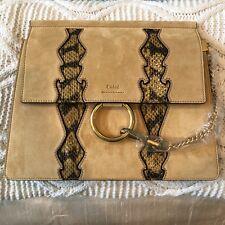 NWT Chloe Faye Medium Buttercup Yellow Suede/ Snakeskin Shoulder Bag $2550