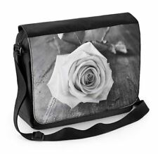 Rose Black and White Laptop Messenger Bag - Floral Flowers