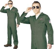 Military Aviator Fighter Pilot Flight Suit Uniform 80s Mens Fancy Dress Costume X Large
