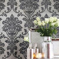 Wallpaper gray Brass Metallic textured Victorian Glass beads Vintage Damask 3D