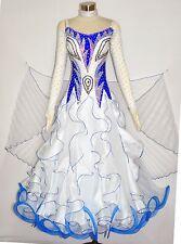 Women Ballroom Competition Dance Dress Smooth Waltz White Blue ModernDance Gown