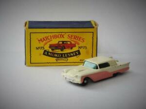 MATCHBOX MOKO LESNEY 1960 BOXED FORD THUNDERBIRD 75a RARE BLACK WHEELS & BASE