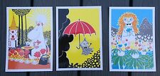Moomin Postcards from Finland,set of 3, fun characters, Karto Oy