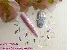 3D Nail Art Silver White Holographic *Lightening* Strike Spangle Glitter Tip Pot