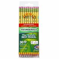 Ticonderoga Pencils, Wood-Cased Graphite #2 HB Soft, Pre-Sharpened, Yellow, 30-P