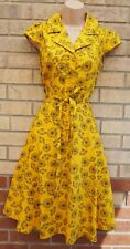 JOE BROWNS YELLOW FLORAL BUTTONED BELTED T SHIRT FLIPPY SKATER COTTON DRESS 8 S