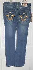 NWT True Religion Joey Super T Straight Leg Jeans, Medium Blue, Size 29 MSRP 319