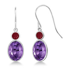 2.48 Ct Oval Purple Amethyst Red Ruby 14k White Gold Earrings