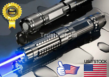 High Power 445nm Focus Visible Blue Beam Laser Pointer Pen Box Burn match 5MW US