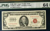 1966 $100 PMG64 EPQ CHOICE UNC LEGAL TENDER NOTE, RED SEAL & SN A00724310A  3655