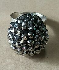 New fashion cocktail ring jewelry adjustable multi-facet silver grey ball shape