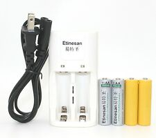 2pcs ETINESAN 600MAH 3.2v 14500 AA rechargable battery w/ dummy + 14500 Charger