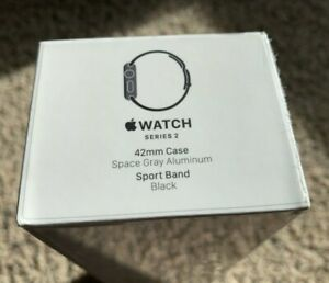 New SEALED Apple Watch Series 2 Space Grey 42mm Black Sports Band Rare Collector