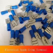Unique 100 6.3mm Blue Female Electrical Spade Crimp Connector Terminal 16-14GA