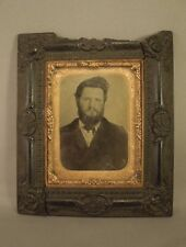 Antique Tin Type Photograph Portrait of a Bearded Victorian Man in Frame