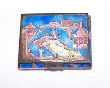 Old brass snuff/pillbox with Cloisonne scene design