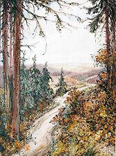 Waldweg im Harz, Aquarell 1930er Jahre Paul Groß 1873-1942 Neue Sachlichkeit