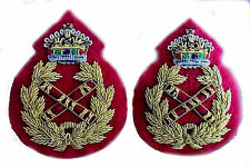 UK British Army Field Marshal General Uniform Rank Badge KING Crown Pair NEW