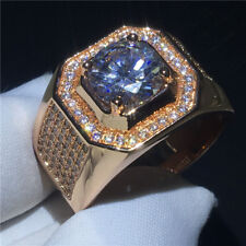 2Ct Zirconia Jewelry Gift for Party Luxury Men Rose Gold Filled Wedding Ring