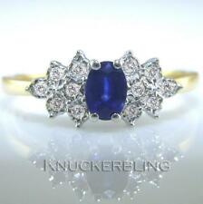 9 Carat Oval Sapphire Yellow Gold Fine Rings