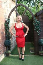 LADIES BOOHOO RED WITH BIG BOW SUMMER COCKTAIL SEXY TIERED PENCIL DRESS ~ UK 8