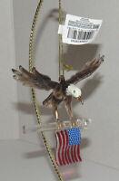 Kurt Adler Art Glass Eagle With Flag Ornament Patriotic Christmas 4th July