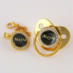 Personalized Baby Pacifier Photo Bling Bling w/ Chain Clip Birthday Shower Gift