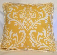 French Country Cottage Damask Pillow Yellow Ivory Moroccan Traditional Toile