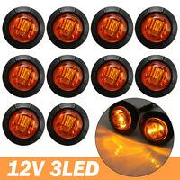 10X 12V Amber Round LED Side Marker Light Indicator Lamp Truck Trailer Caravan